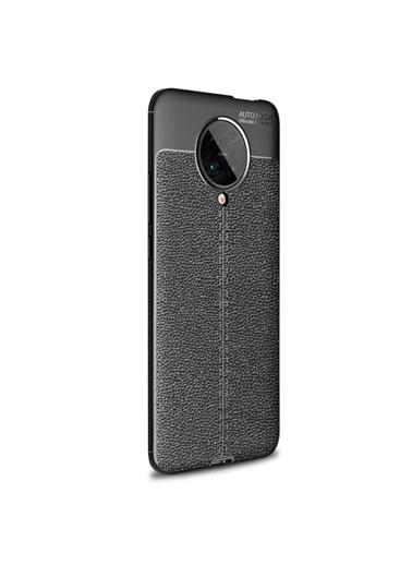 Microsonic Xiaomi Redmi K30 Pro Kılıf Deri Dokulu Silikon Kırmızı Siyah